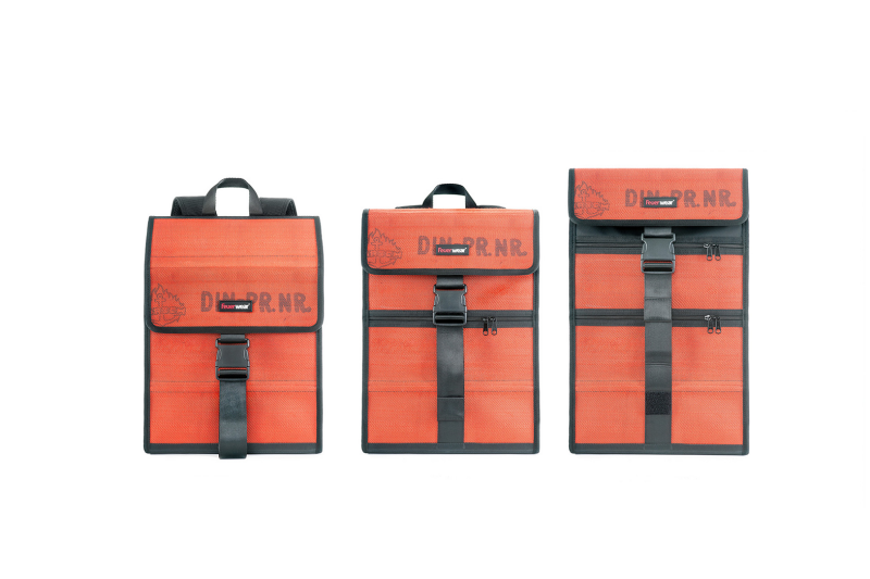 Flexible designer backpack made of fire hose